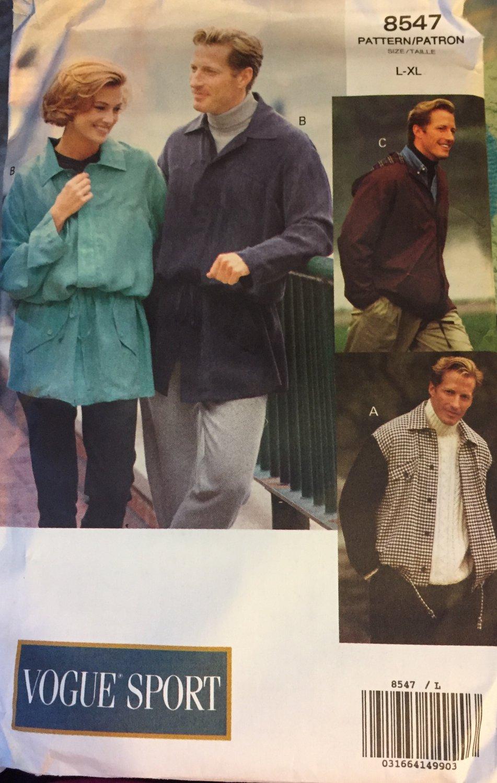 Vogue 8547 Unisex Jackets Sewing Pattern sizes Large to Extra Large