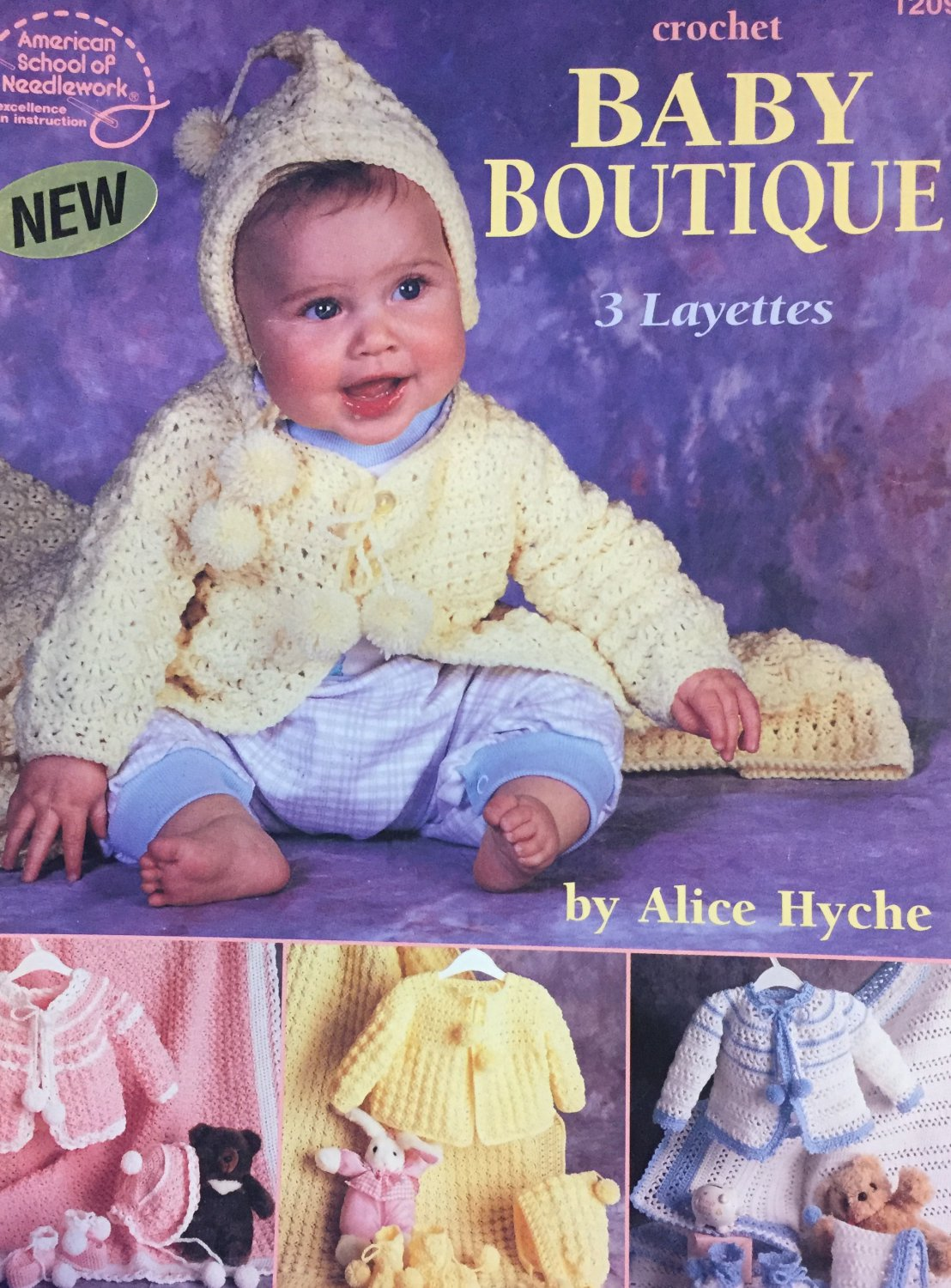 Baby Boutique Layette Sets American School of Needlework Crochet Pattern Booklet 1209