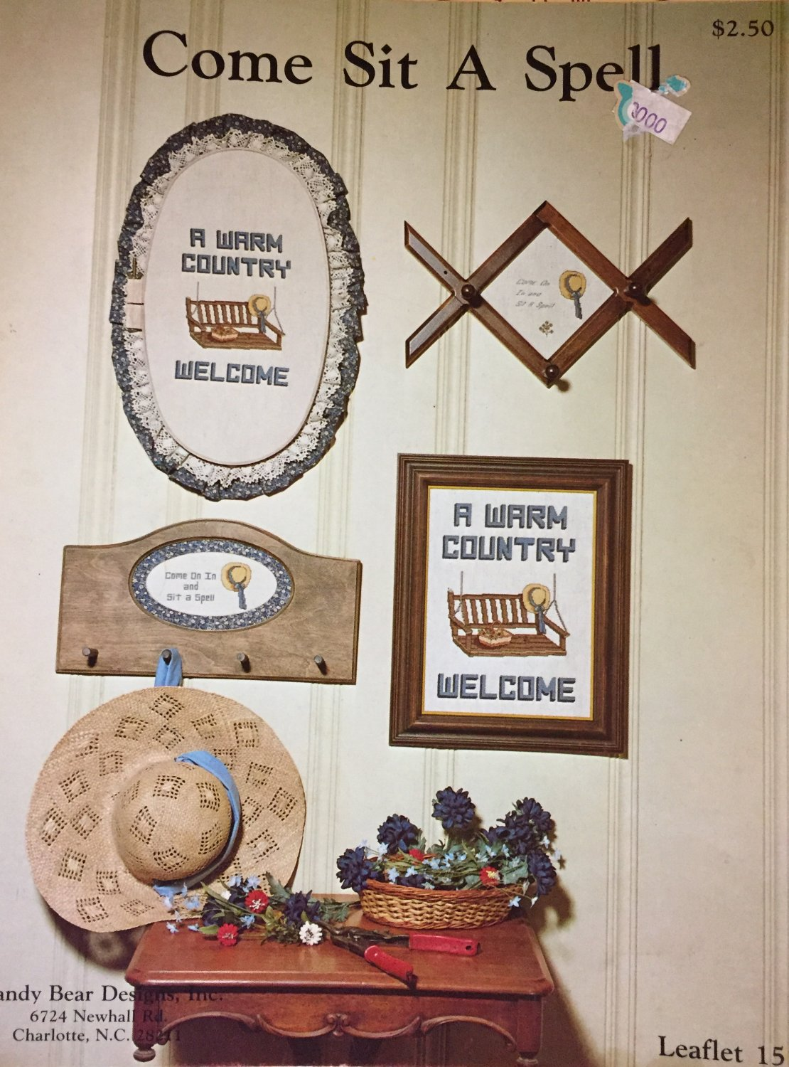 Come Sit A Spell Country Cross stitch Pattern From Mandy Bear Designs