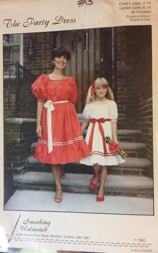 Peasant Stye Party Dress  Sewing Pattern  Smocking Unlimited Child Sizes 2 - 14 Ladies 6-16