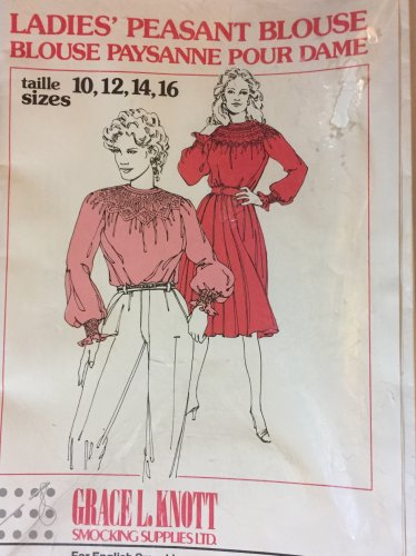 Ladie's Peasant Blouse Sewing Pattern Sizes 10 to 16  with English smocking.