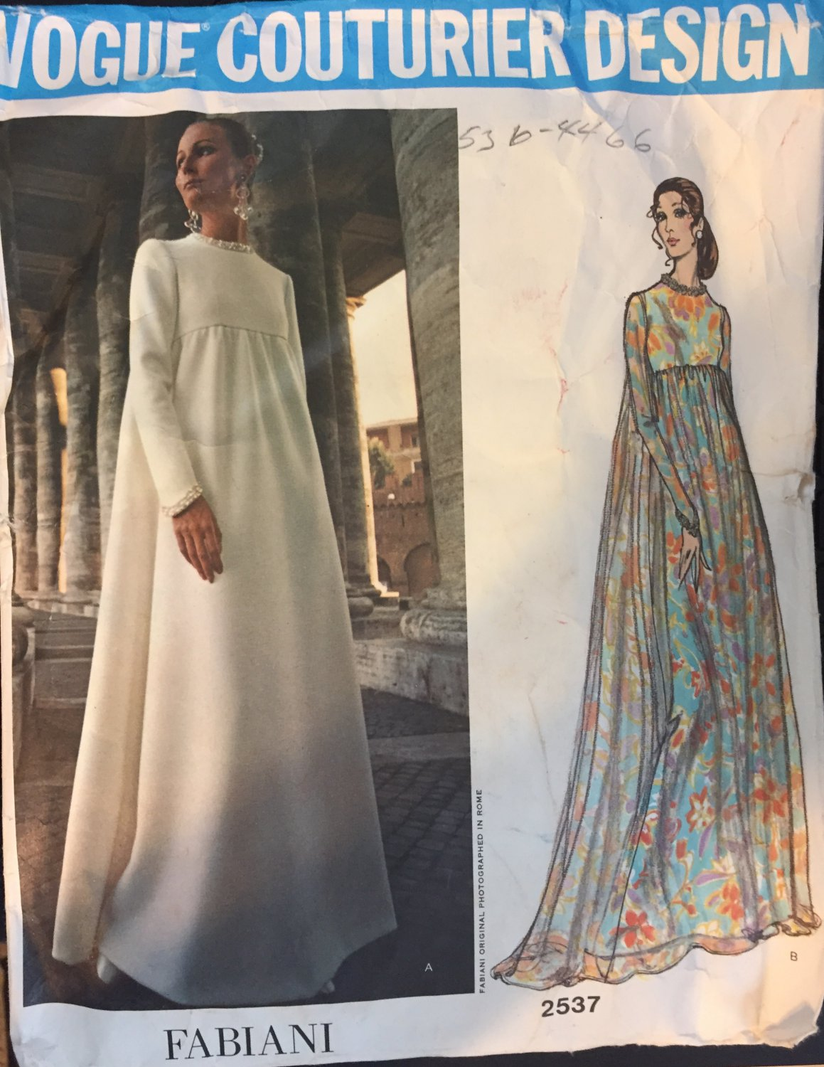 Vintage 1970s Vogue Couturier Pattern Fabiani 2537 Evening  gown Size 10