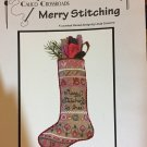 Calico Crossroads Merry Stitching cross stitch and embroidery pattern for a Christmas stocking