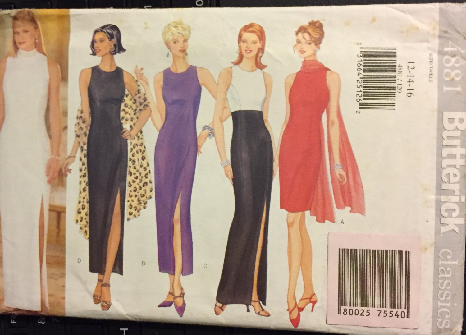 Butterick 4881 Misses evening, prom gown & stole Size 12, 14, 16