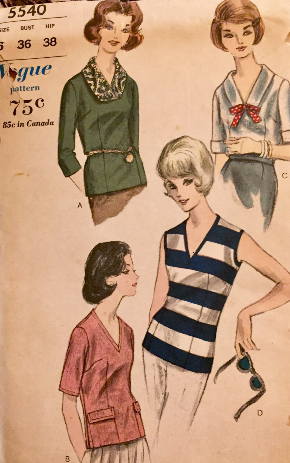 Vogue 5540 Blouse and scarf Sewing pattern size 16 Bust 36 Hip 38