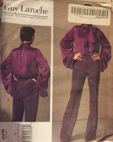 Vogue 1416 Guy Laroche blouse and pants pattern sizes 14 fo 22 Paris Original