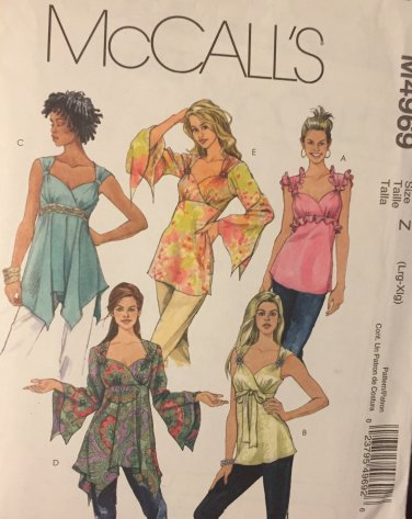 McCall's 4969 Women's sewing pattern: Handkerchief Top in two lengths size large - extra large