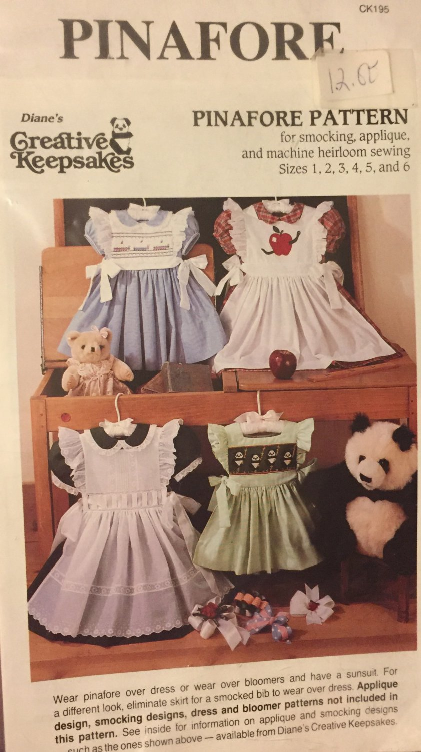 Child's Pinafore Sewing Pattern for Smocking, Applique, and machine heirloom sewing sizes 1 to 6