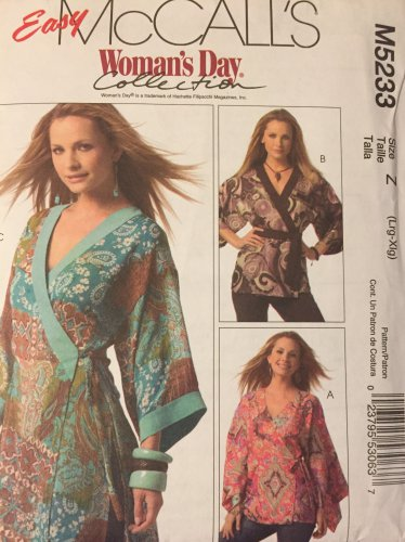 McCall's 5233 Women's sewing pattern: Belt Wrap side tie top.  Size large extra large