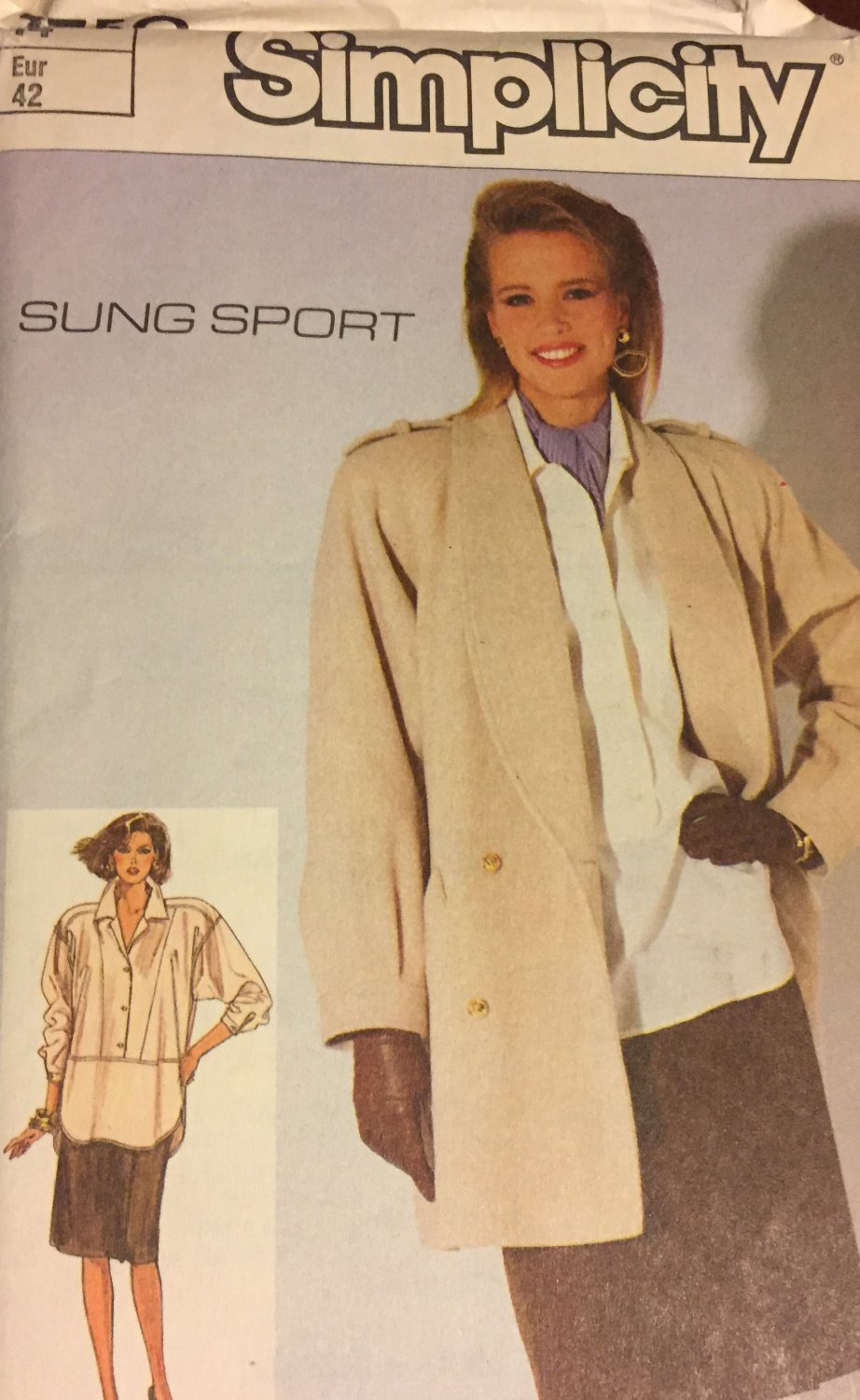 Simplicity 7750 Sung Sport Loose Fitting Shirt, Lined  Coat, Lined Front-Wrap Skirt Size 14