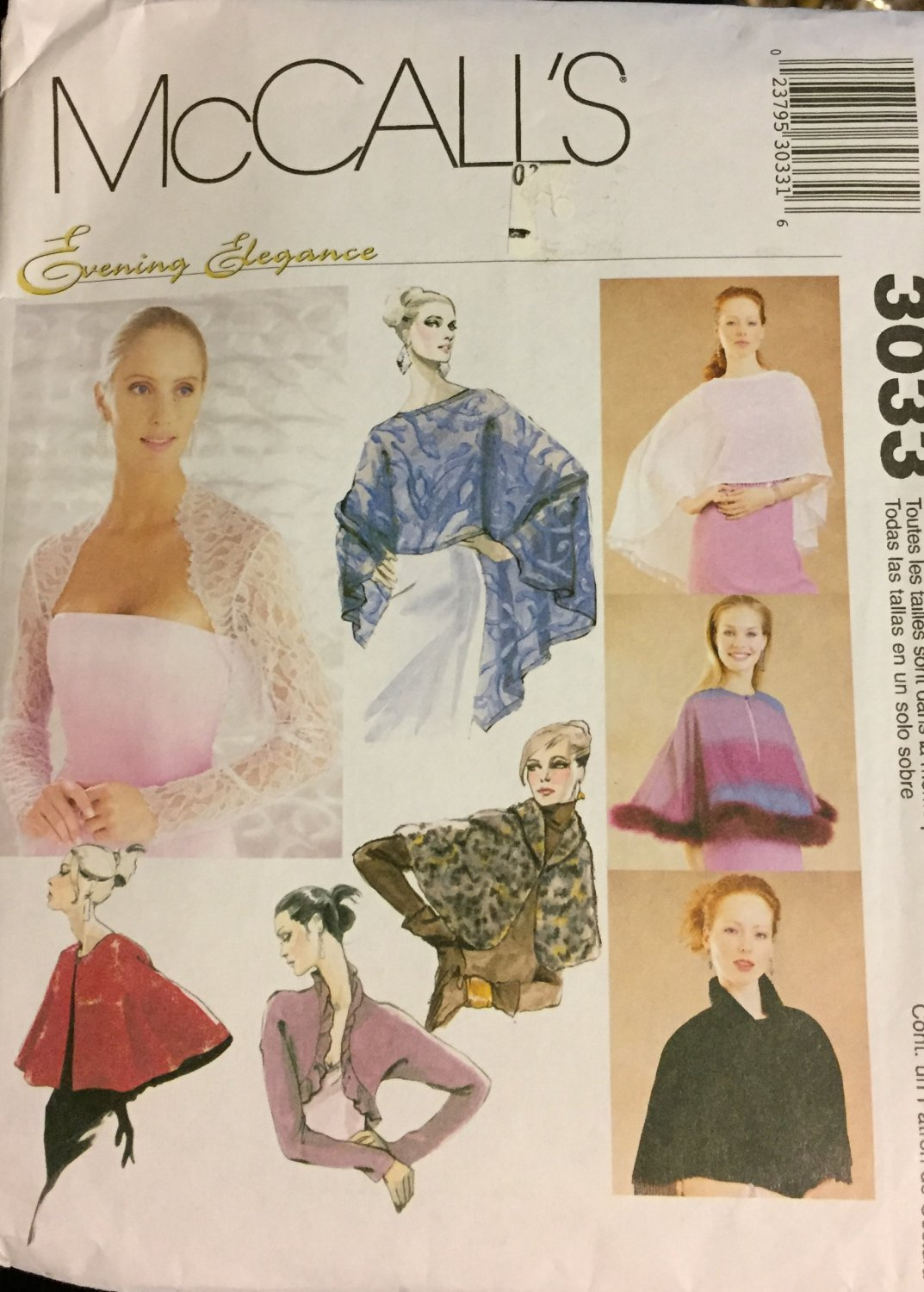 McCall's 3033 Evening elegance wraps capelets and shrugs for every occasion SOLD OUT!