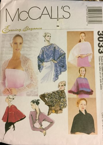 McCall's 3033 Evening elegance wraps capelets and shrugs for every occasion Sewing Pattern