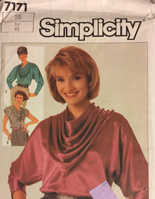 Simplicity 7171 Misses Draped-front blouse  size 16
