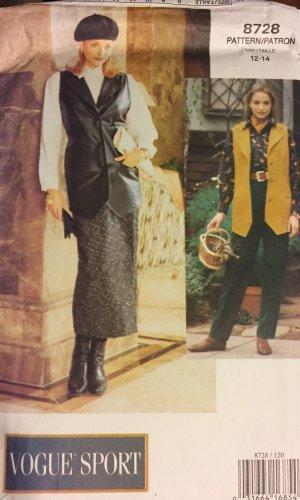 Vogue Sport 8728 Sewing Pattern Trousers Pants Skirt Vest Sizes 12 14