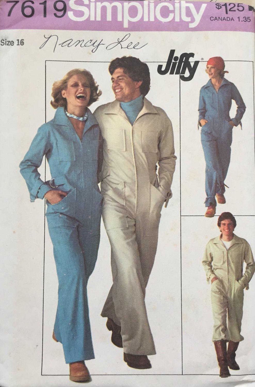 Simplicity 7619 1970s Misses Zip Front Jumpsuit Coveralls Vintage Sewing Pattern Size 16 Bust 38