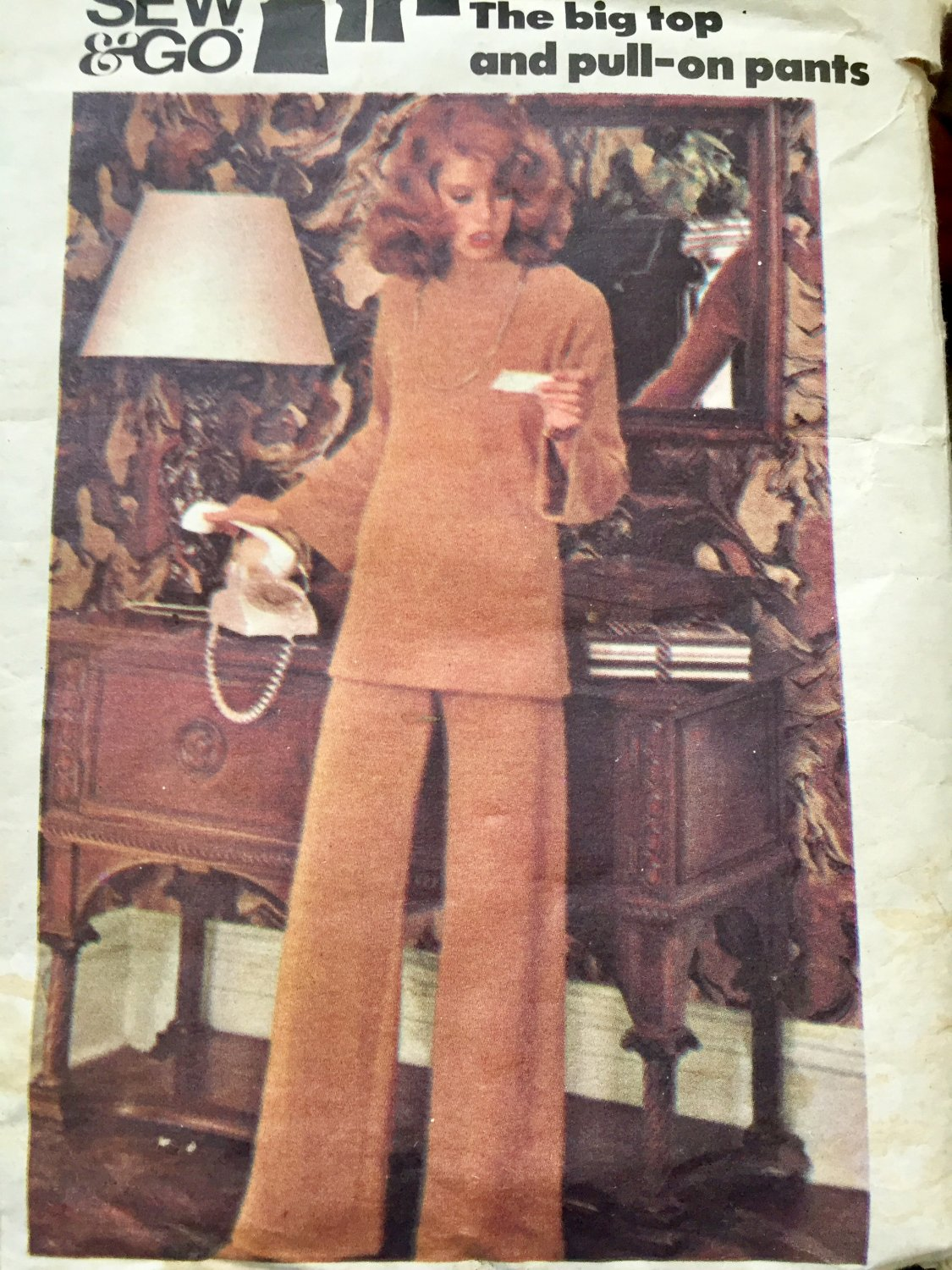 """Vintage 1970s Sewing Pattern Butterick 4027 Big Top and Pull On Pants Size 16 Bust 38"""""""