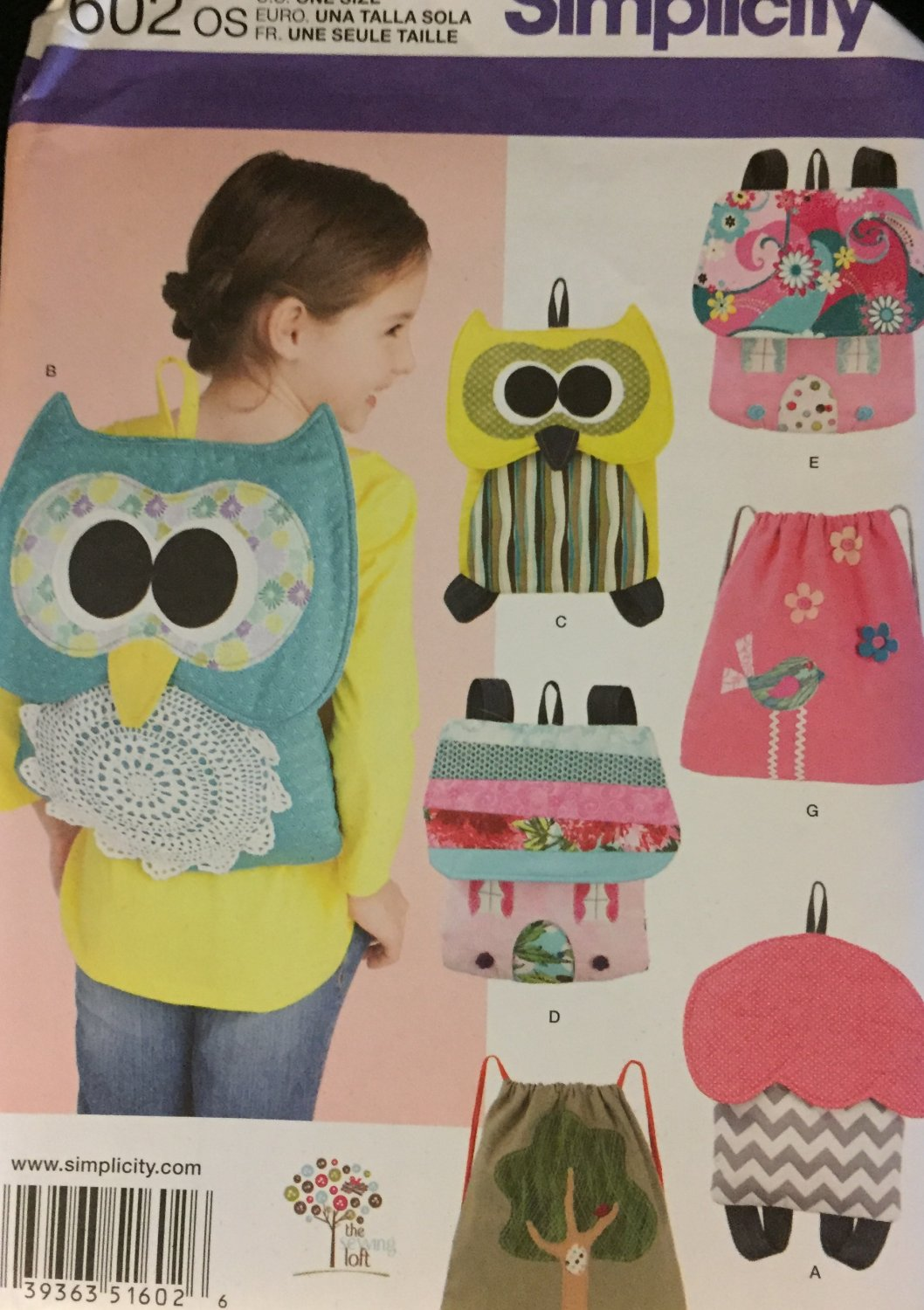 Simplicity 1602 Children's Backpacks bags and totes sewing pattern