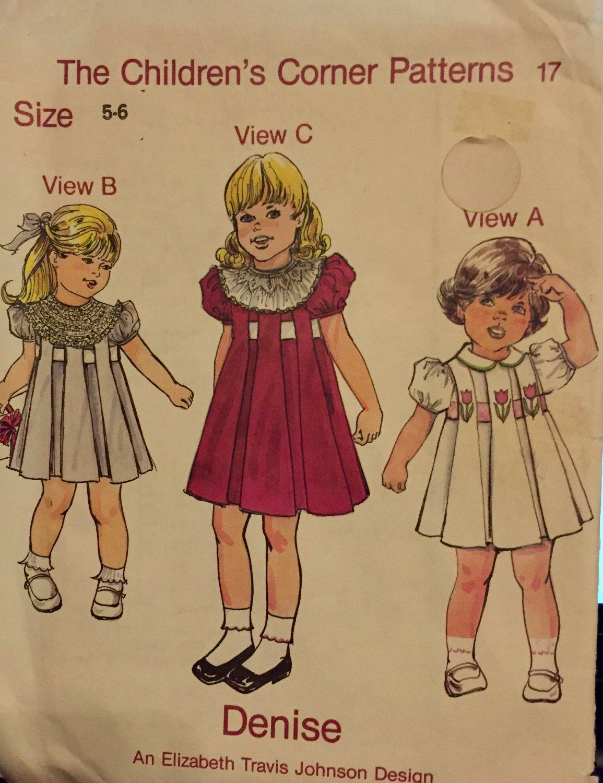 Children's Corner Sewing Pattern with Smocking Denise 17 Size 5-6 Elizabeth Travis Johnson Design
