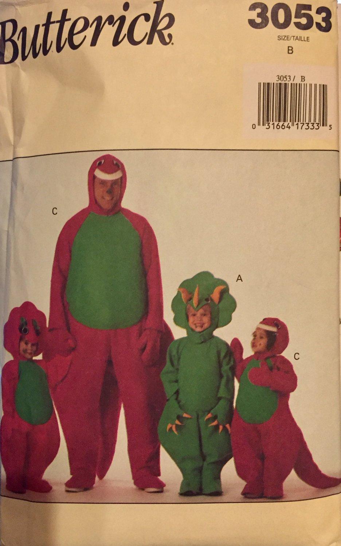 Butterick 3053 Older child/adult Dinosaur Barney Costume Pattern Size B XS S M L Chest 30 - 44
