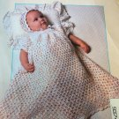 Lion Brand Jamie Yarn Crochet pattern baby afghan,  Christening Gown and Bonnet