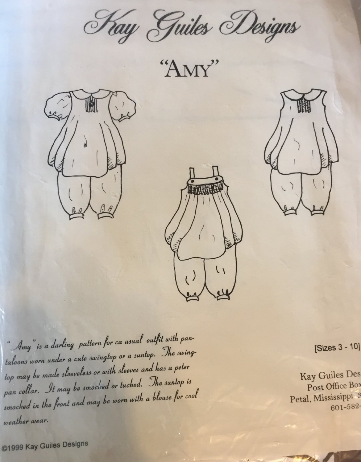 Kay Guiles Designs Amy Pantaloons Suntop for sizes 3-10 Sewing Pattern