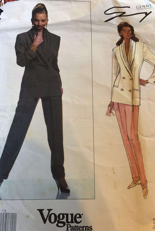 Vogue Designer Original 2721 Genny Jacket and Pants Sewing Pattern Size 6 8 10