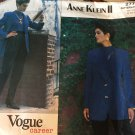 Vintage 1980's Vogue 2777 Anne Klein Tapered Pants Notched Collar Jacket Size 8 10 12