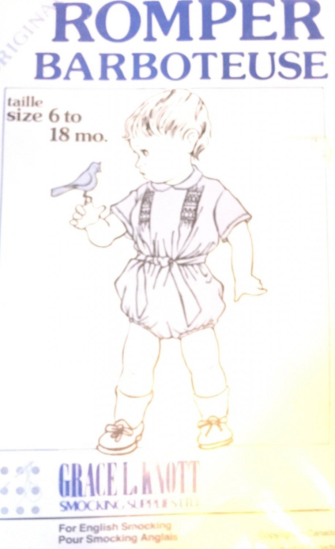 Romper infant size 6 - 18 months For English Smocking Grace Knott Smocking Supplies
