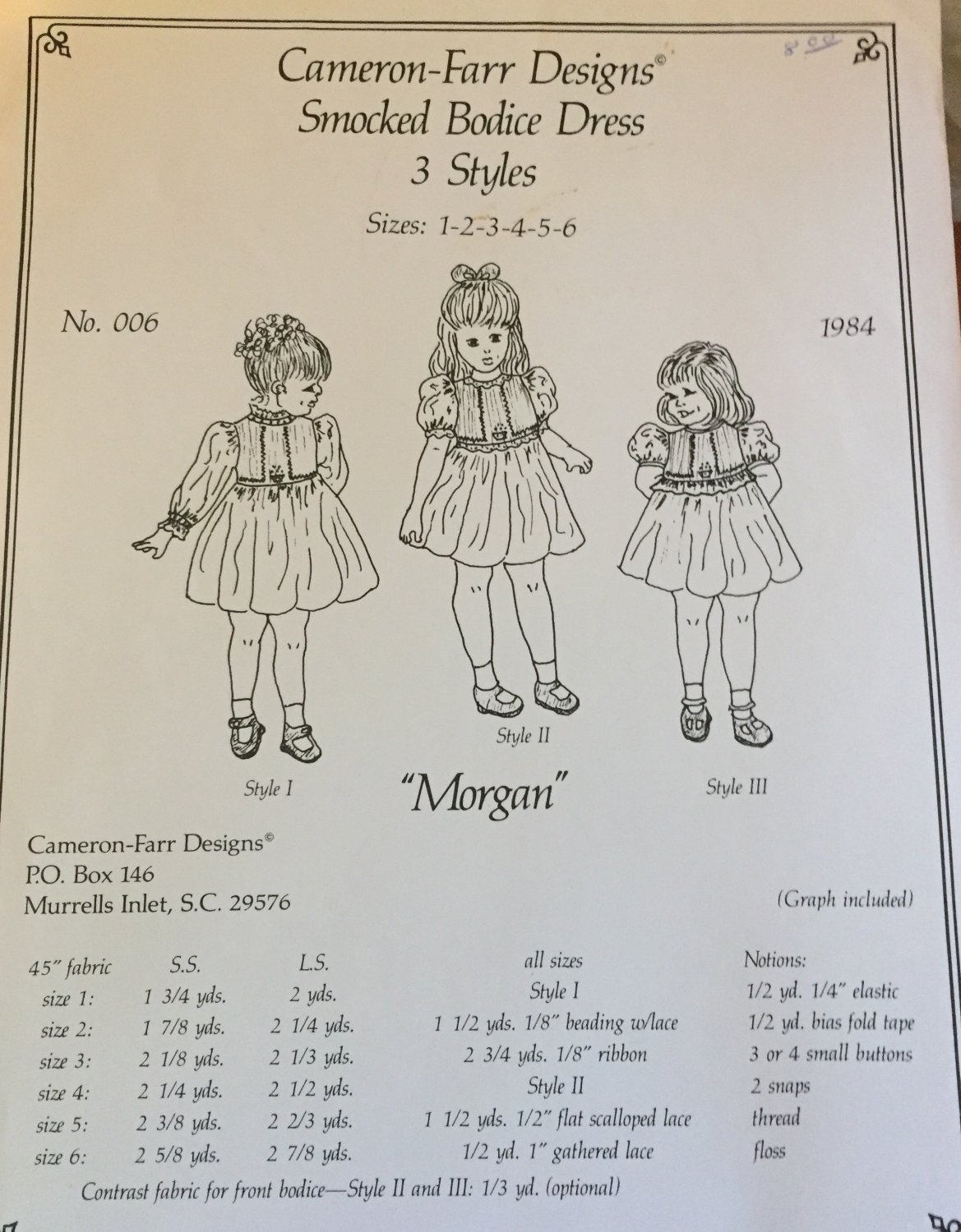 Cameron-Farr Designs Smocked Bodice Dress MORGAN 3 Styles sizes 1-6 Sewing Pattern
