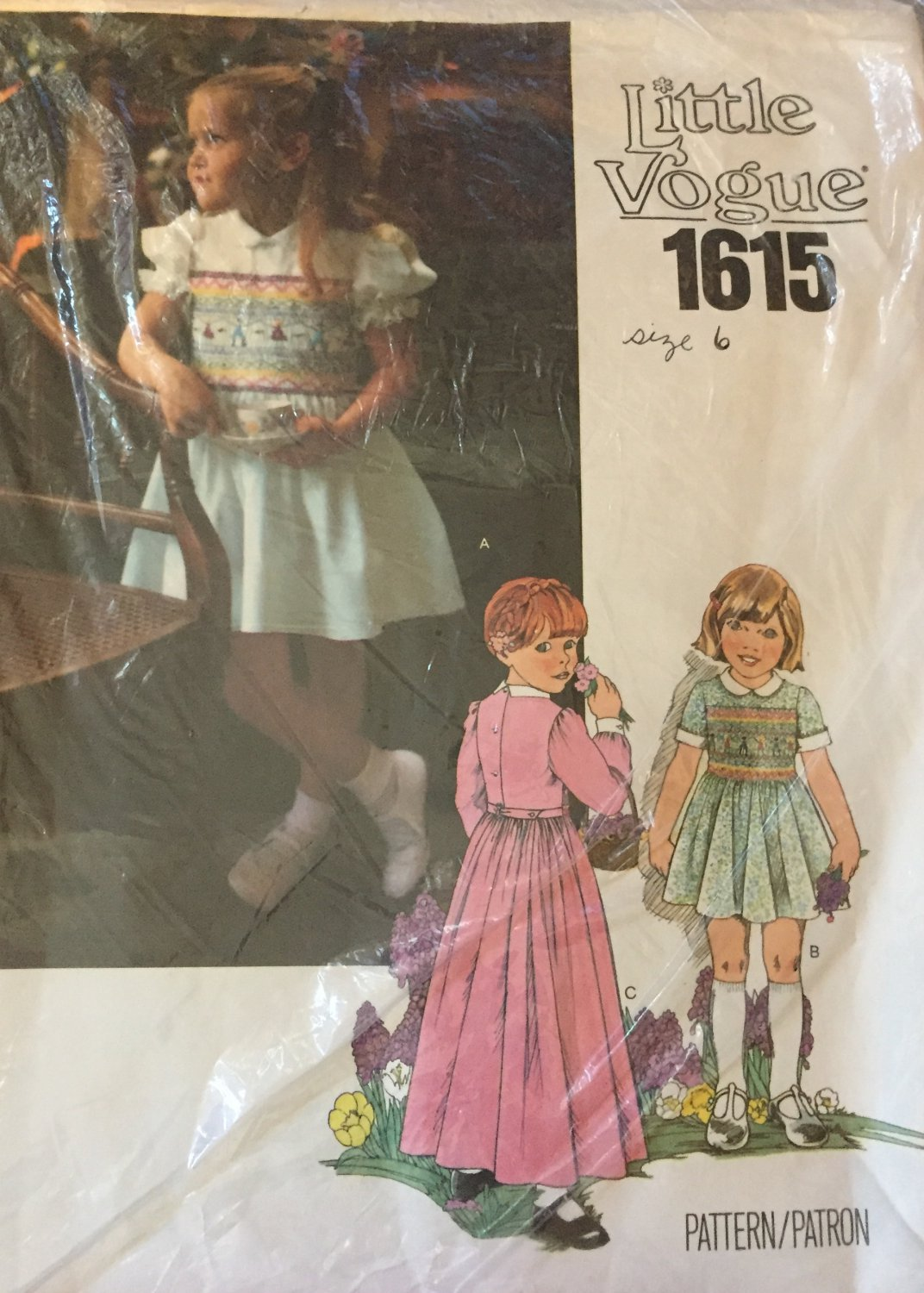 Sewing Pattern Little Vogue 1615 Girls Dress with Full Bodice Smocking Unused Size 6