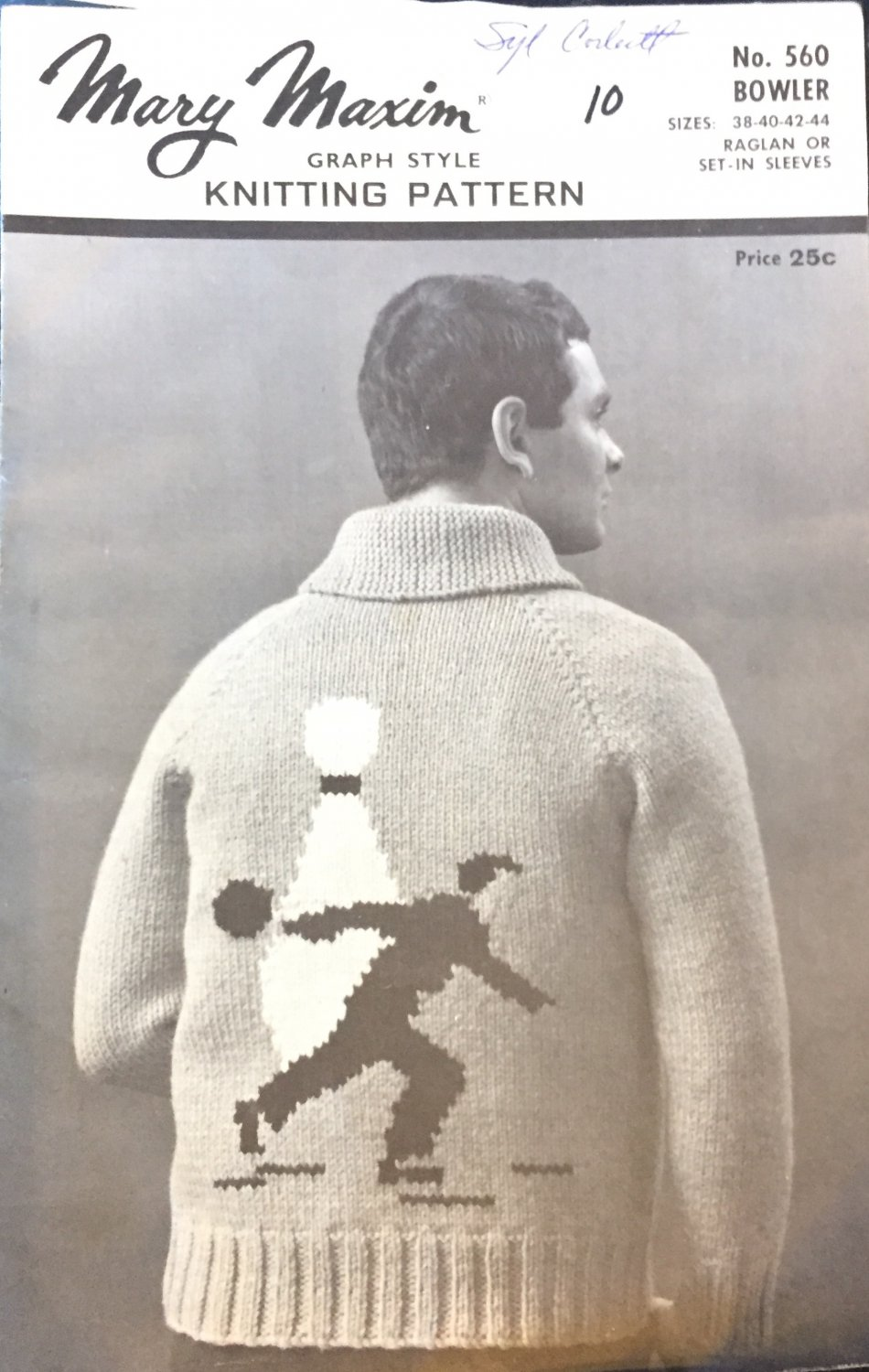 Mary Maxim 560 Men's 4 Ply Cardigan Bowler Graph Style Knitting Pattern