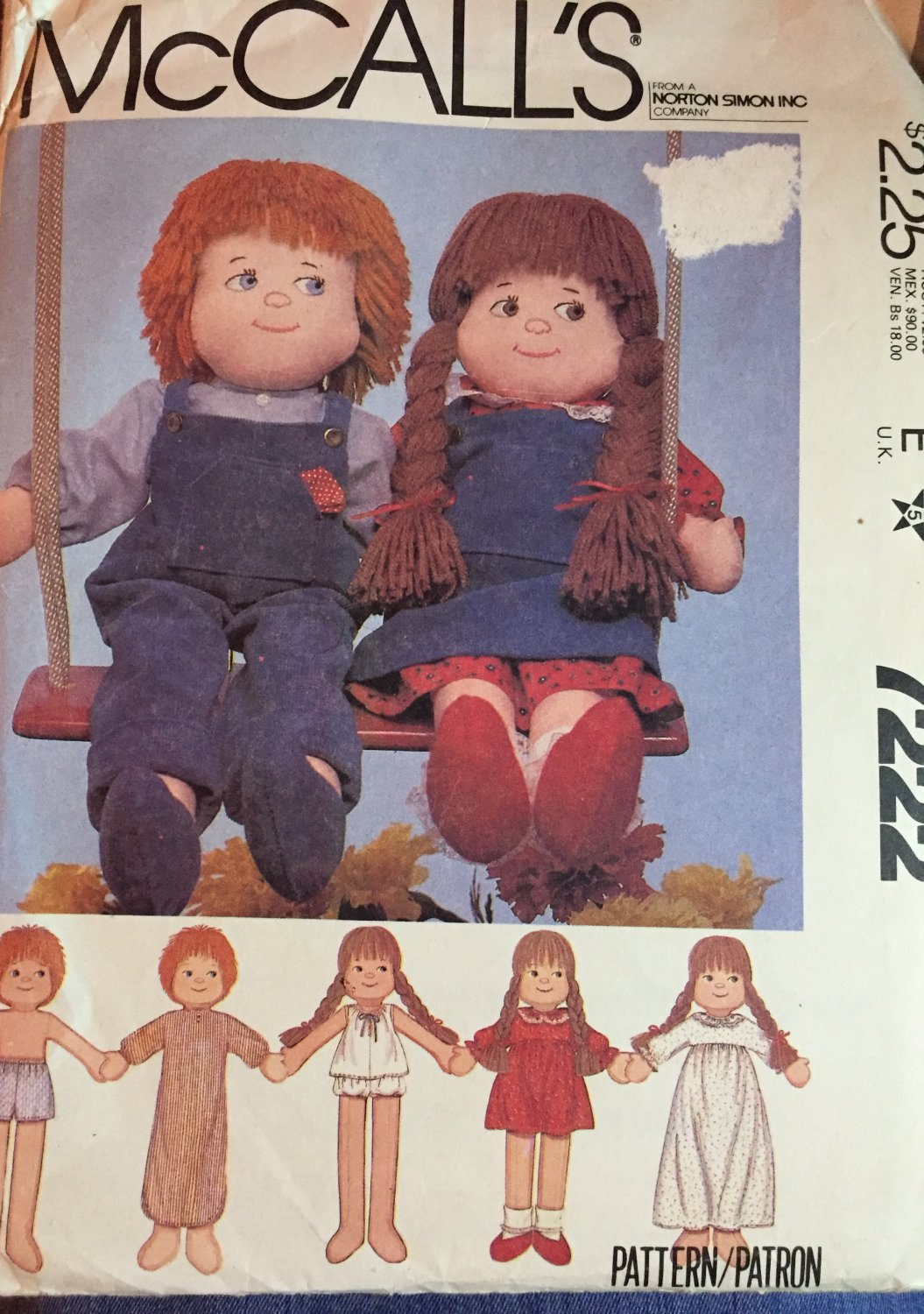 """7222 McCall's Rag Doll and Clothes Pattern Boy or Girl Wardrobe 22"""" Dolls"""