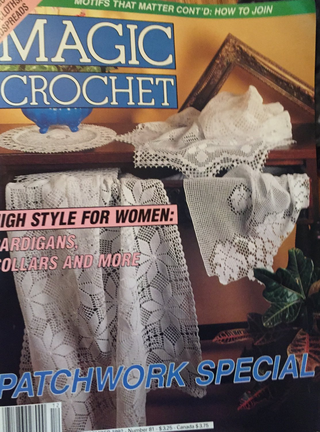 Magic Crochet Pattern Magazine Number 81 December 1992 Doilies, tablecloths, child's sweater