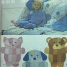 Simplicity 4993 Rag Quilt Animal Wall Hangings or Throw Blanket Kids Sewing Pattern