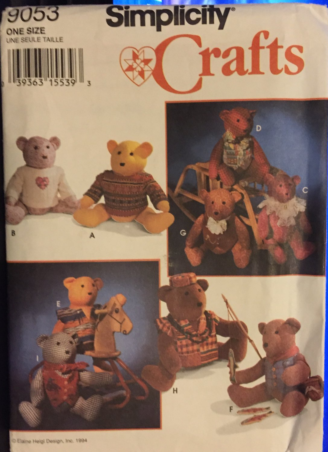 Simplicity 9053 Craft Sewing Pattern Teddy Bears 20 inch and clothes