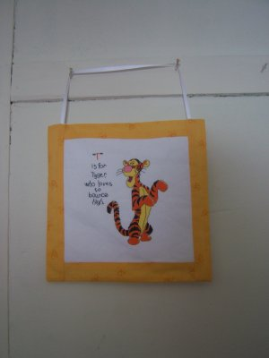 Completed Tigger Cross Stitch Wall Hanging