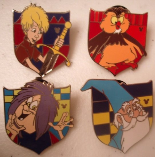 Disney SWORD IN THE STONE pin collection (complete set of 4 pins)