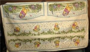 CLASSIC POOH Hunny Pots ECRU Baby Nursery Fabric Panel Bumper