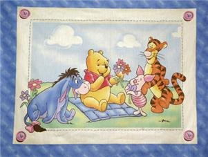 "Winnie the POOH & Friends Fabric Quilt Panel 35"" x 47"" Tigger, Piglet & Eyore!"