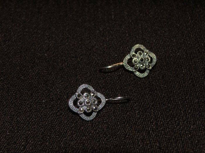 Silver Flower Marcasite earing - 4851