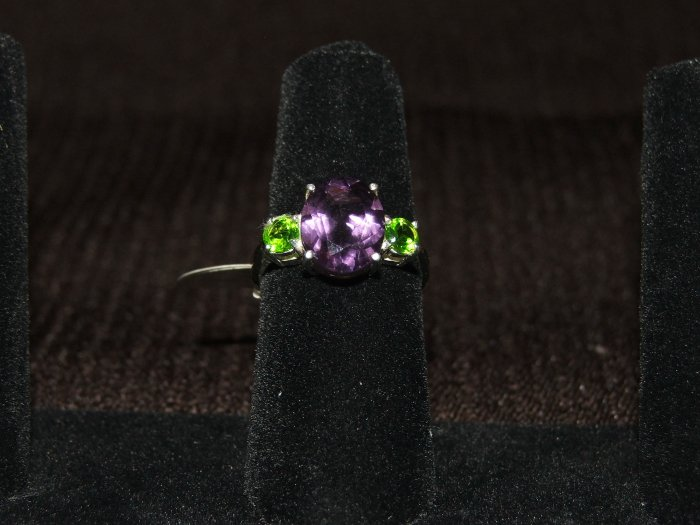 Amethyst and peridot silver ring - 2245