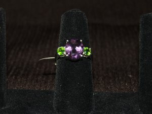 Amethyst and peridot silver ring - 2245