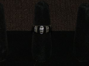 Black onyx marcasite Silver ring - 3626