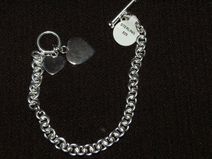 Heart toggle silver bracelet - 5460