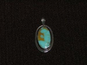 Oval Turquiose silver pendant - 9027