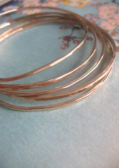 Organic 14k Gold-Filled Hammered Bangles - Set of 5