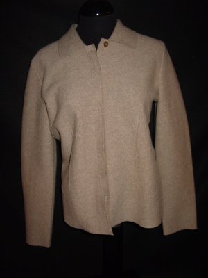 $215 BETH BOWLEY Merino Wool Cardigan Sweater L Large