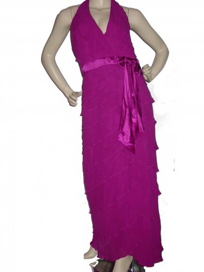 Womens Sexy RUFFLED Berry Silk Dress Gown US Sz 12 UK sz 14