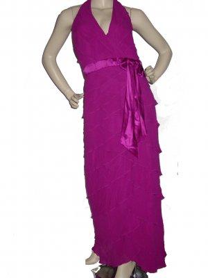 Womens Sexy RUFFLED Berry Silk Dress Gown US Sz 12 UK sz 14