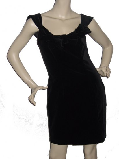 "$145 LAURA ASHLEY Black Velvet ""Bow"" Dress Sz 8 Medium"